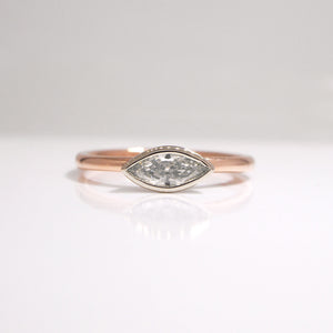 14K Rose and White Gold Marquis Diamond Engagement Ring
