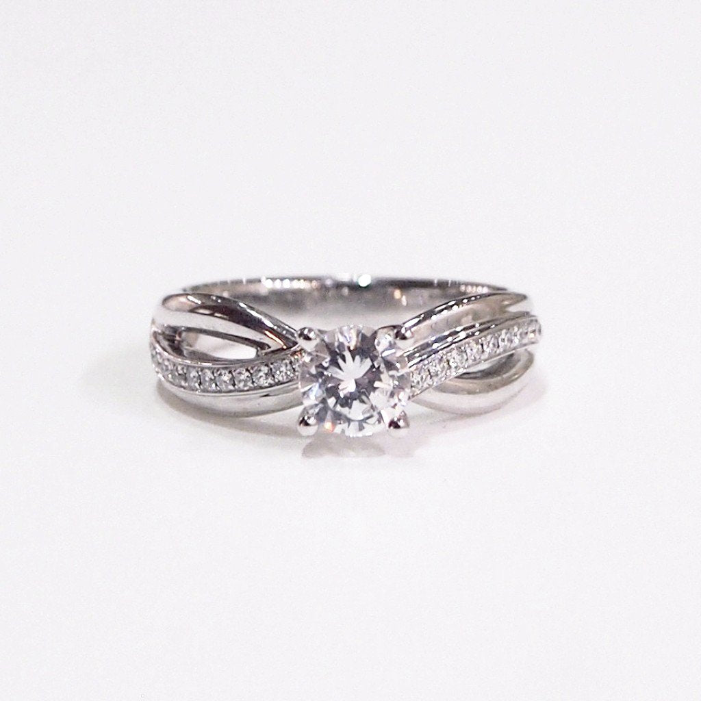 Lazare Kaplan Platinum semi-mount engagement ring with full-cut side diamonds