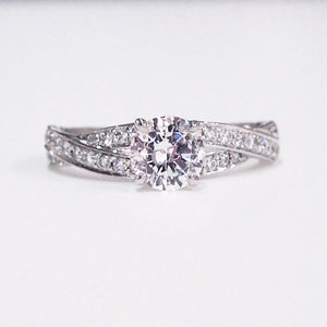 Lazare Kaplan 14K white gold semimount diamond engagement ring with full-cut diamonds