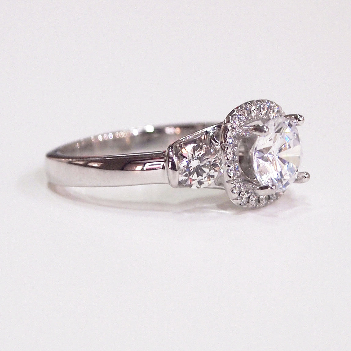 "Lazare Kaplan 18K white gold ""Raphaella"" diamond semi-mount engagement ring"