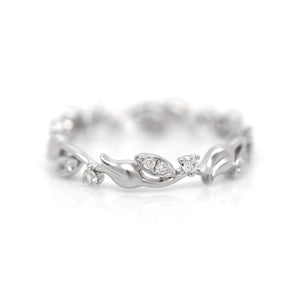 18K White Gold Diamond Flower Eternity Wedding Band