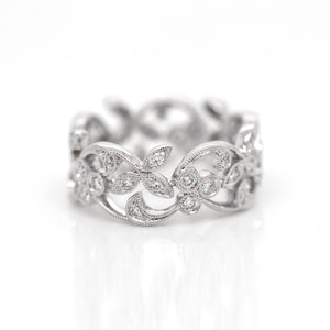 Platinum Lace Diamond Eternity Wedding Band