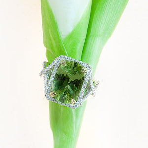 18K white and yellow gold ring with one oval green chrysoberyl and 74 round diamonds