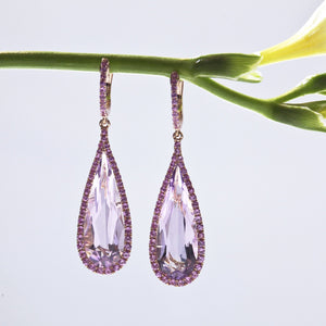18K rose gold earrings with 2 pear-shaped amethysts and 100 pink sapphires
