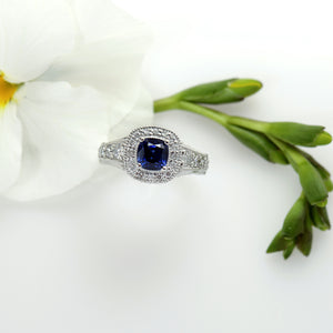 Platinum Natural Unheated Untreated Sapphire And Diamond Ring