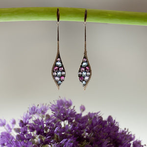 Amethyst, Rhodolite, Topaz, and Diamond Earrings