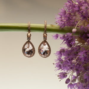Custom Designed Pink Gold Morganite and Diamond Earrings