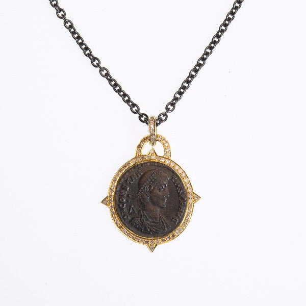"18K Yellow Gold ""Versilia"" Constanzo II Period Bronze Coin Diamond Pendant"