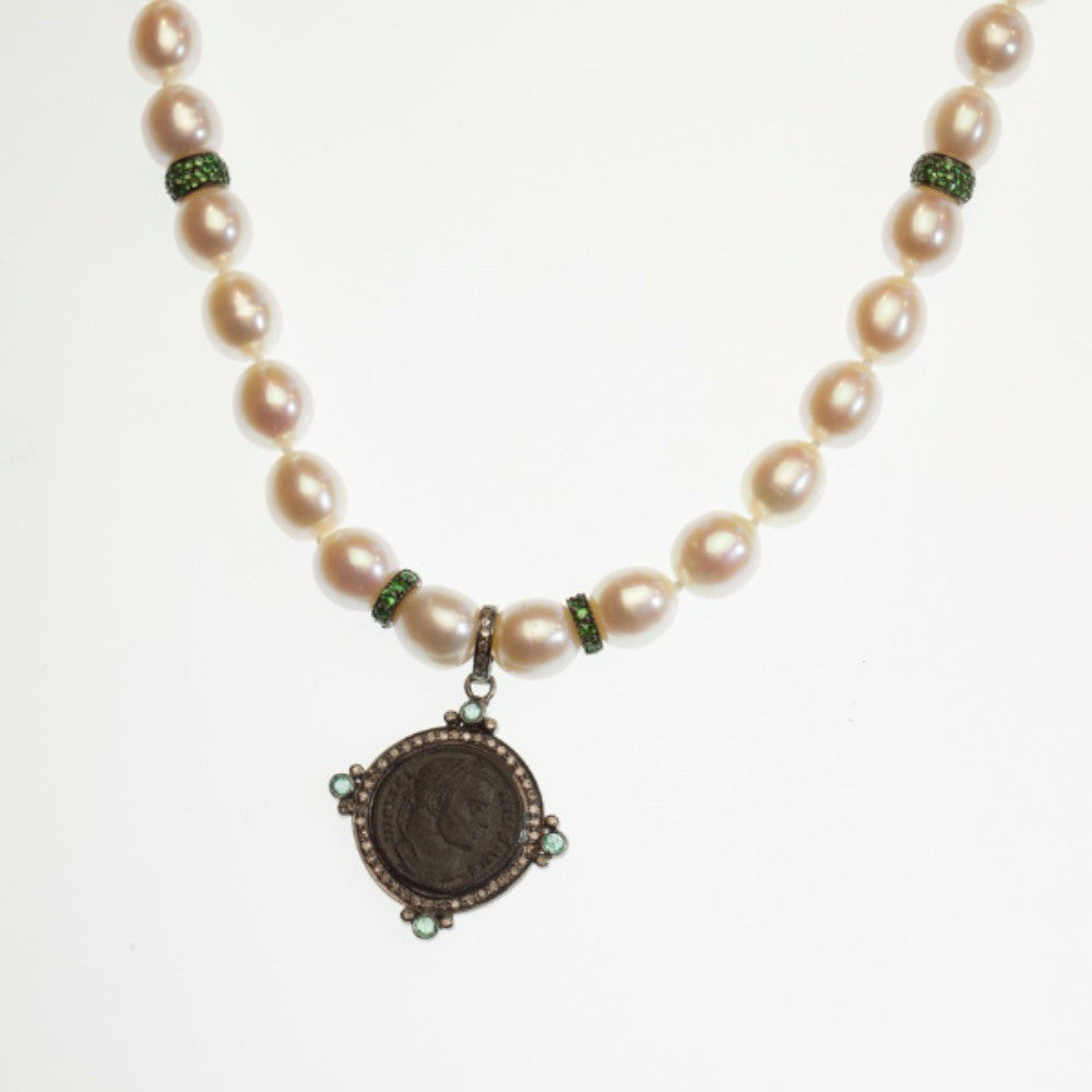 Sterling silver, diamond, and emerald Versilia pendant with an original Licinio bronze coin (307-324 A.D.) on an 18-inch strand of freshwater baroque pearls