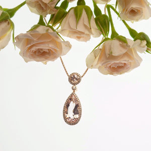 Pear Shaped Morganite and Diamond Pendant