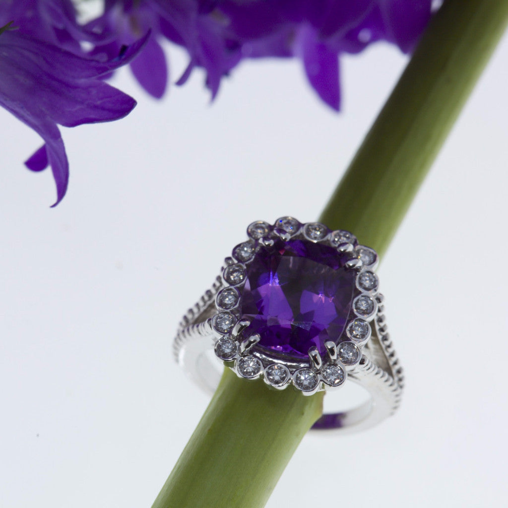 yellow and white gold diamond and amethyst ring