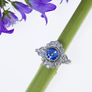 Platinum Antique Style Sapphire and Diamond Ring