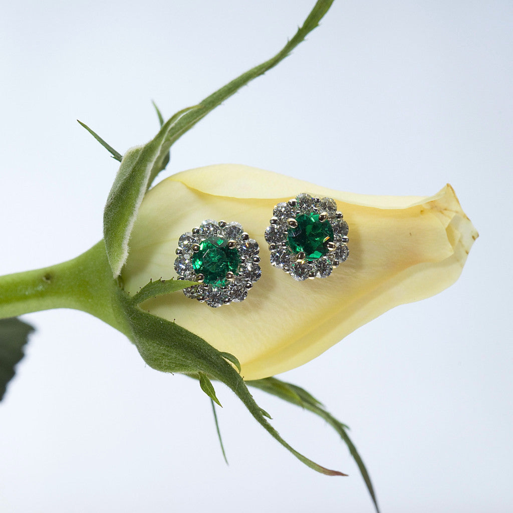 Emerald and Diamond Semi-Mount Earrings
