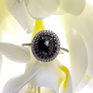 white gold black diamond ring with white diamonds