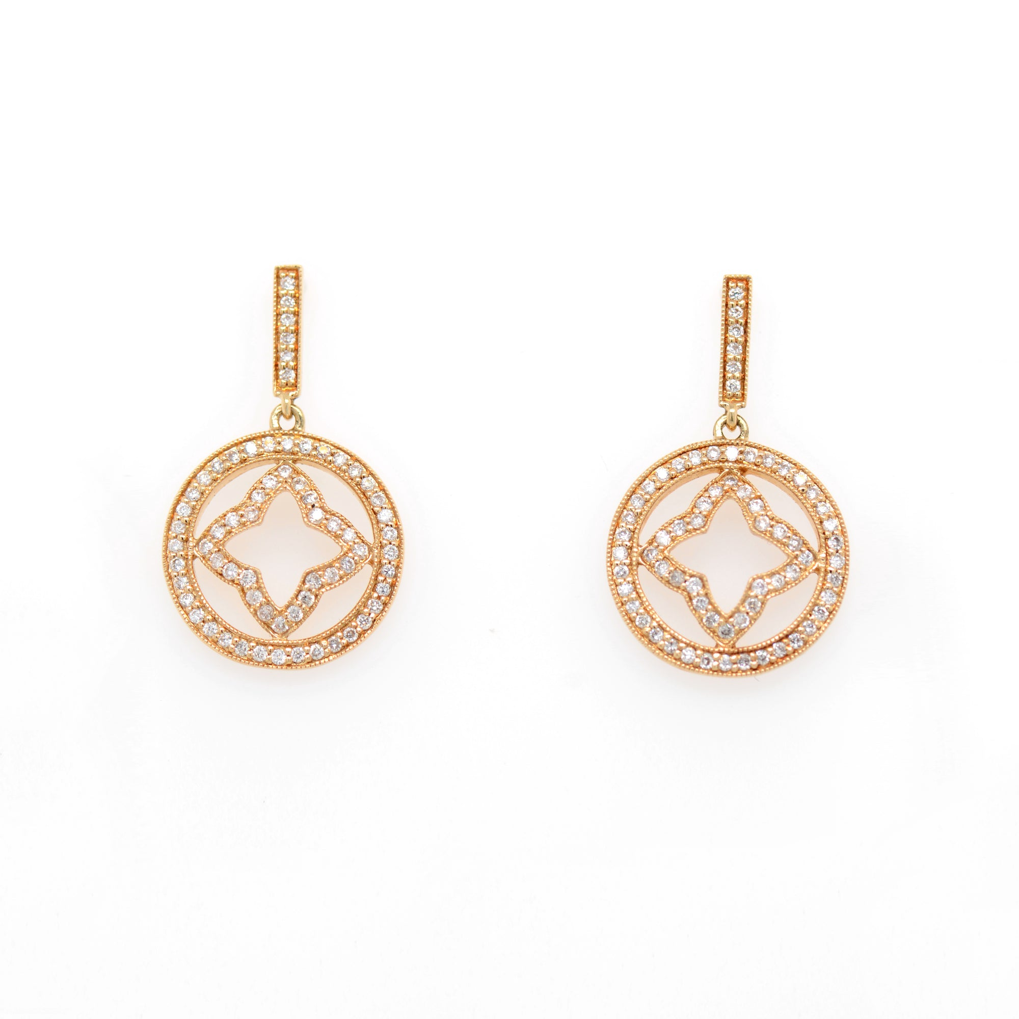 14K yellow gold diamond earrings featuring round diamonds weighing a total of 0.42 carats set in a clover-in-circle design with fine milgrain detail.