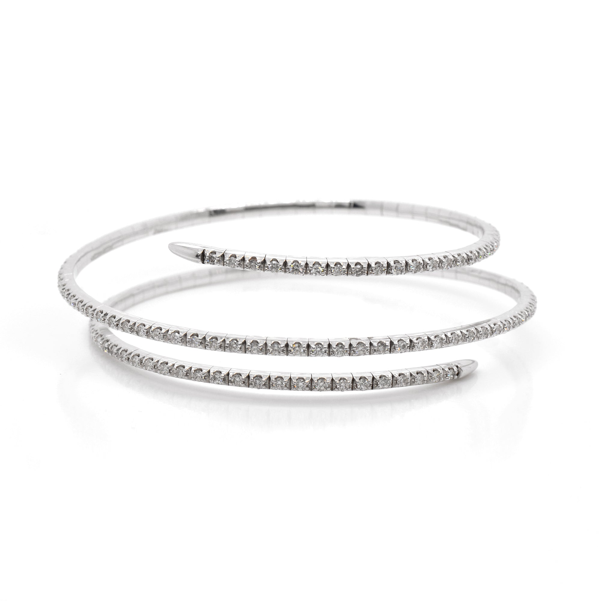 14K White Gold Diamond Flex Bangle