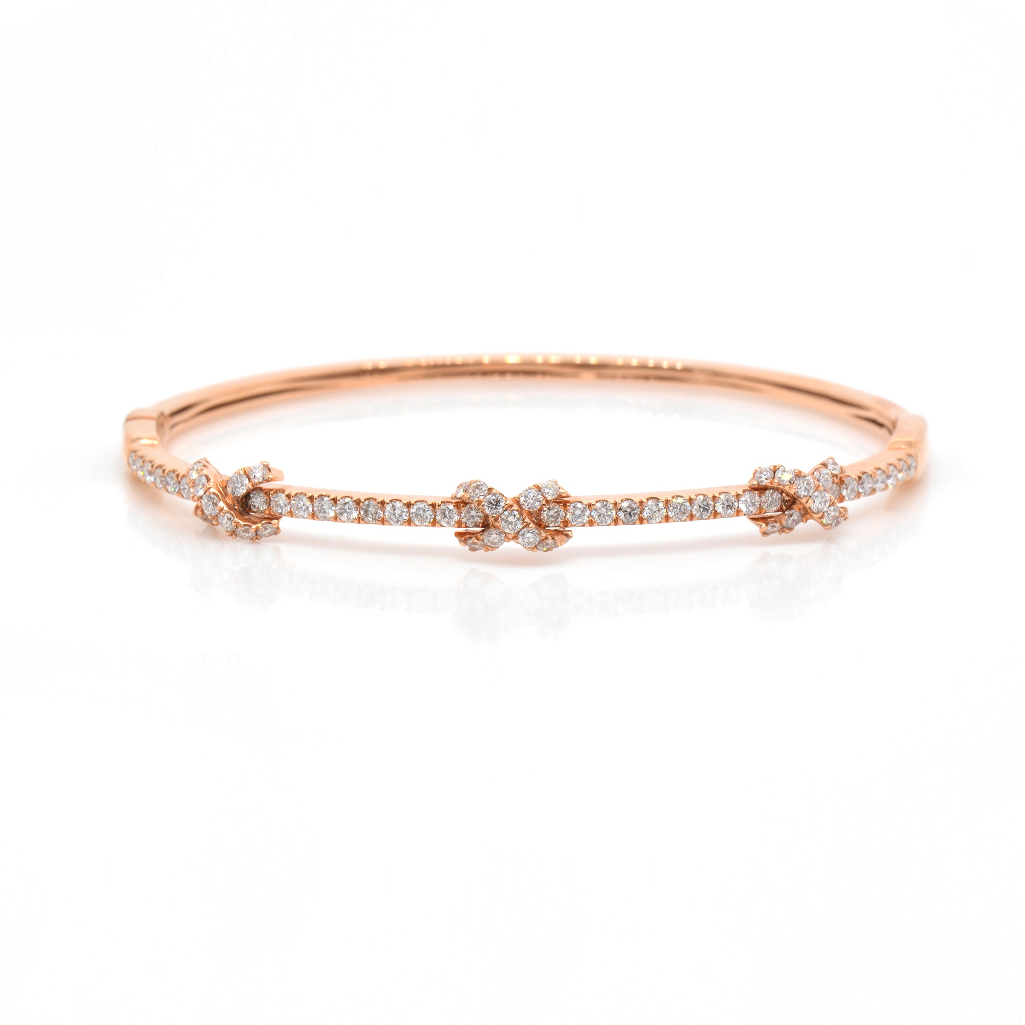 18K Rose Gold Diamond Infinity Bangle
