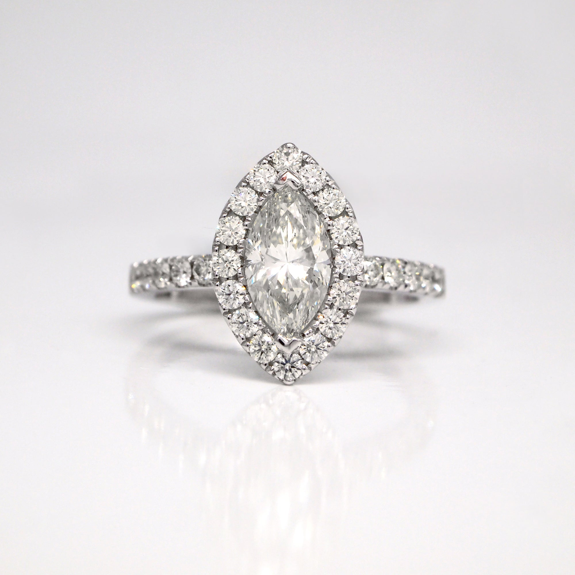 14K White Gold Marquis Diamond Halo Engagement Ring