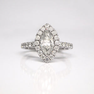 14K Marquis Diamond Halo Engagement Ring