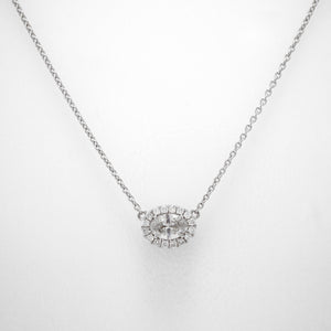 14K White Gold Oval Diamond Halo Necklace