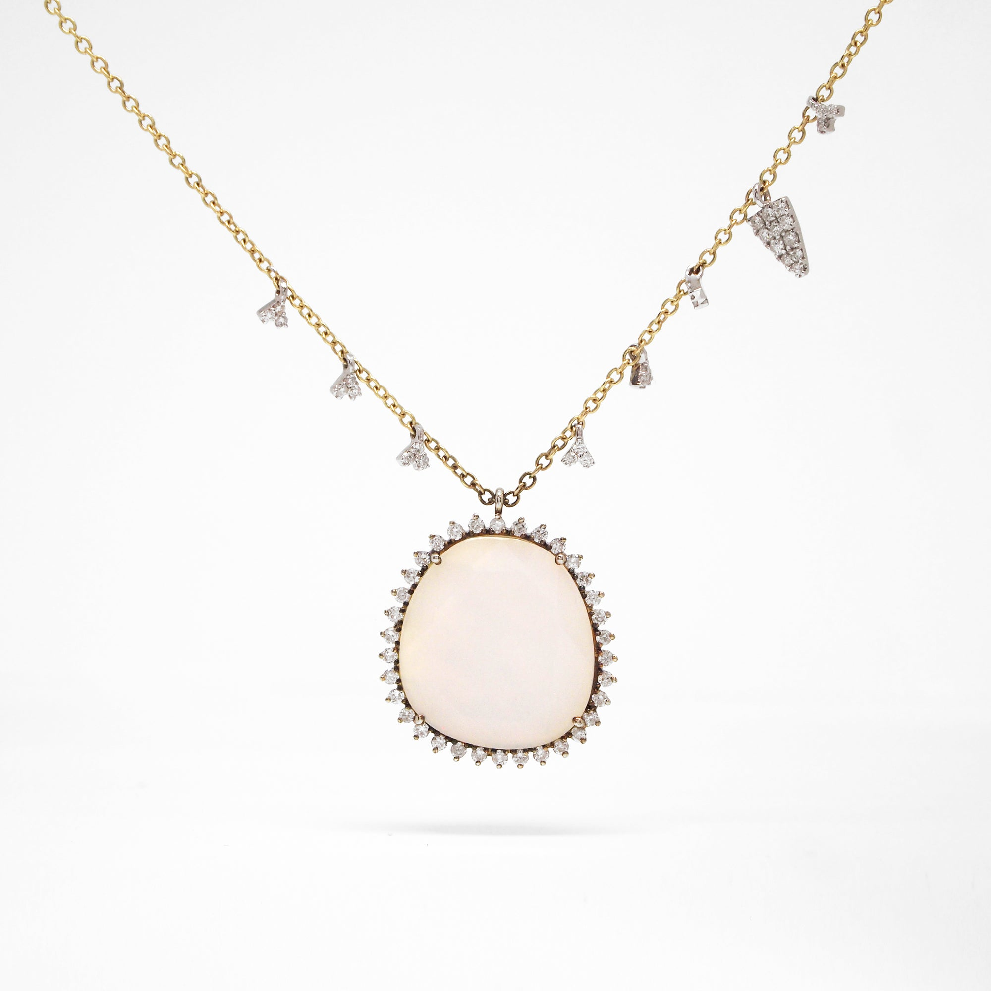 14K Two-Tone Calcedony, Mother of Pearl, And Diamond Necklace
