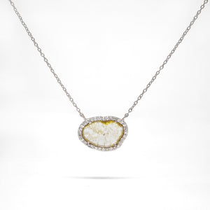 14K White Gold Diamond Slice Necklace