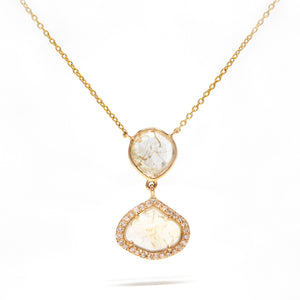 14K Yellow Gold Diamond Slice Necklace