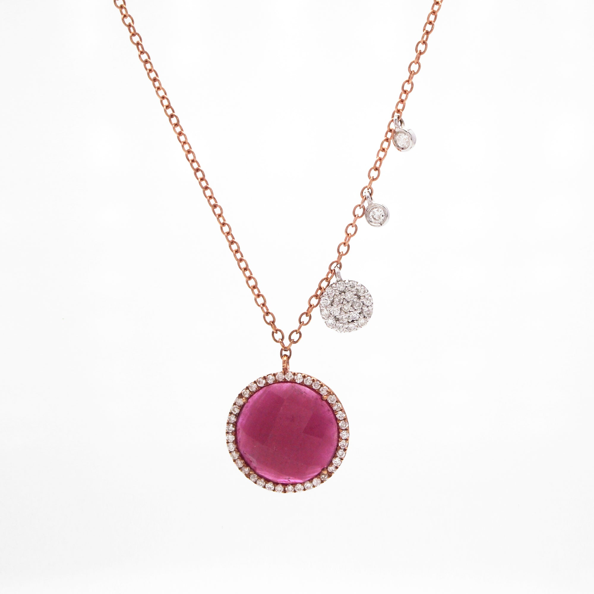14K Rose And White Gold Ruby Slice And Diamond Necklace