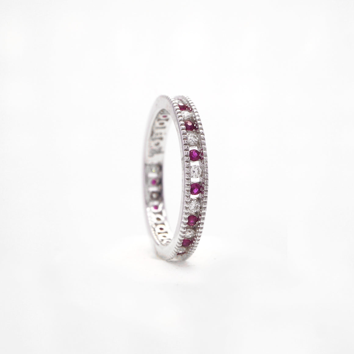 14K White Gold Ruby And Diamond Eternity Band