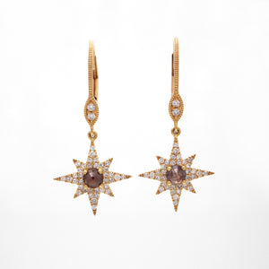 14K Yellow Gold Nova Diamond Drop Earrings
