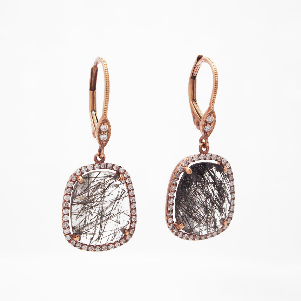 14K Rose Gold Rutilated Quartz And Diamond Earrings