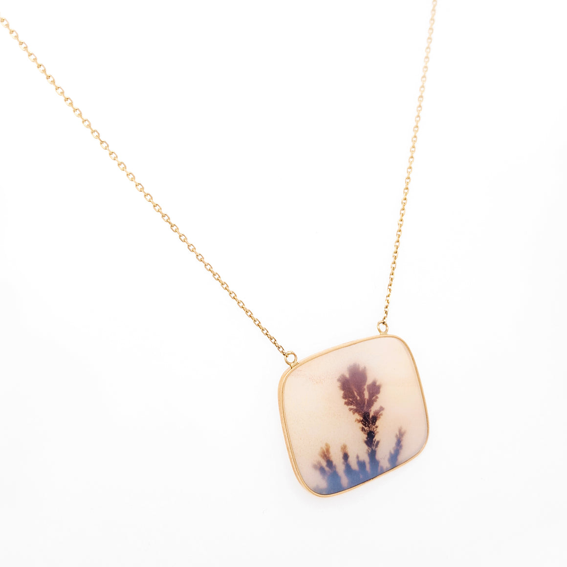 14K Yellow Gold Dendritic Quartz Necklace