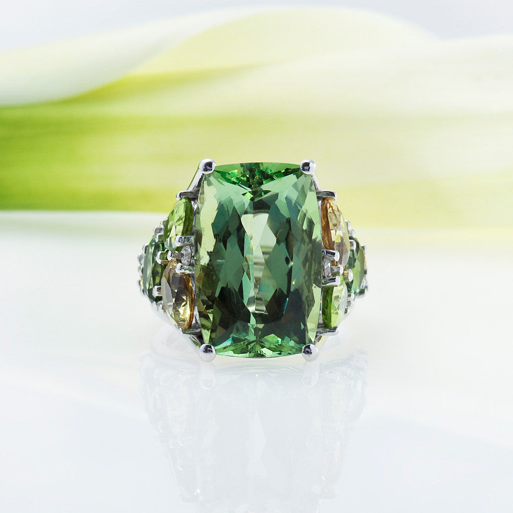 Mark Patterson 18K White Gold Beryl, Tourmaline, Peridot, And Diamond Ring