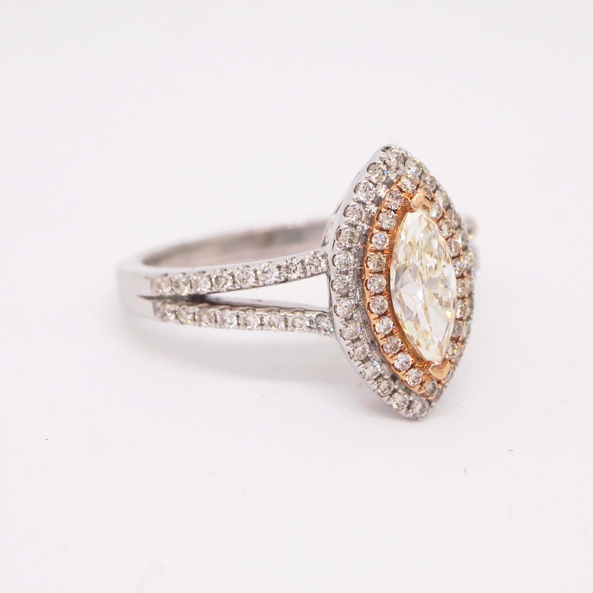 14K White Gold Marquis Diamond Ring