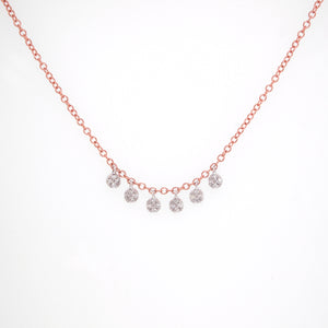 14K Rose and White Gold Diamond Necklace