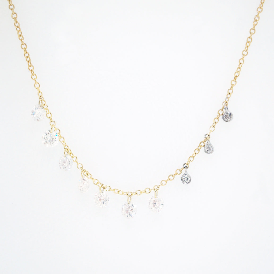 14K Two Tone Floating Diamond Necklace