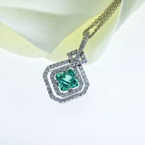 One of a Kind 18K White Gold Tourmaline and Diamond Pendant