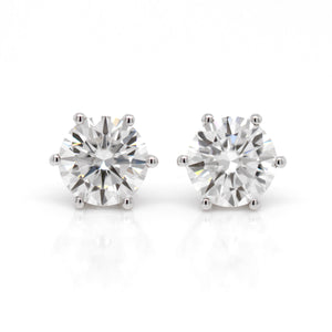14KW Round 8mm Moissanite Stud Earrings Judith Arnell Portland PDX