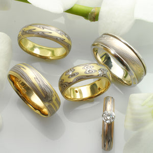 14K/18K Gold Mokume-Gane Wedding Rings