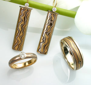 18K Gold Mokume-Gane Custom Jewelry