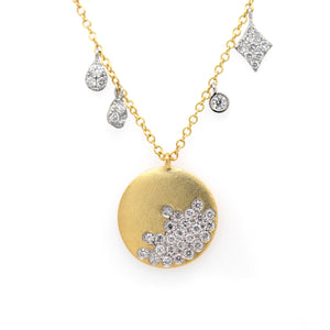 14K Yellow And White Gold Diamond Disk Necklace