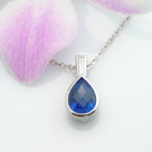 14K White Gold Pear Sapphire Necklace