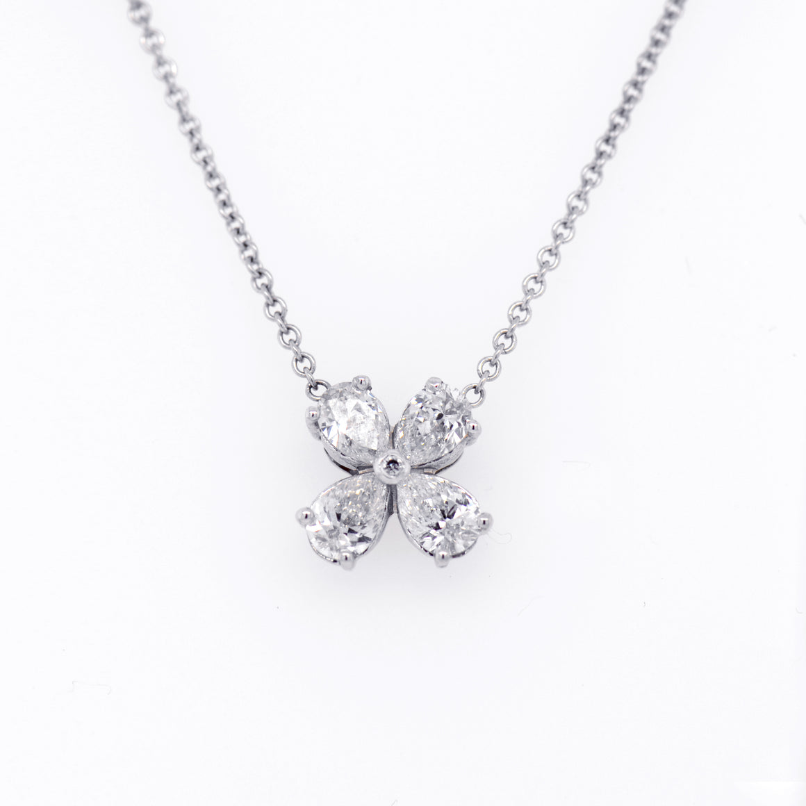 18K White Gold Diamond Clover Necklace