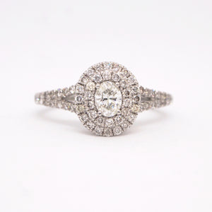 14K White Gold Double Halo Oval Diamond Engagement Ring