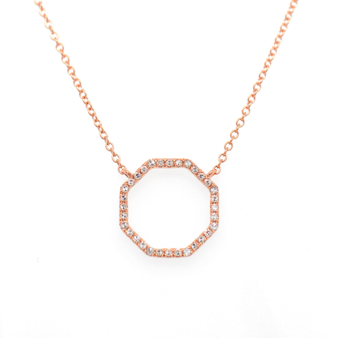14K Rose Gold Diamond Octagon Necklace