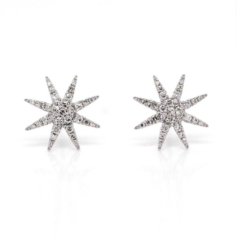 14K White Gold Diamond Starburst Earrings