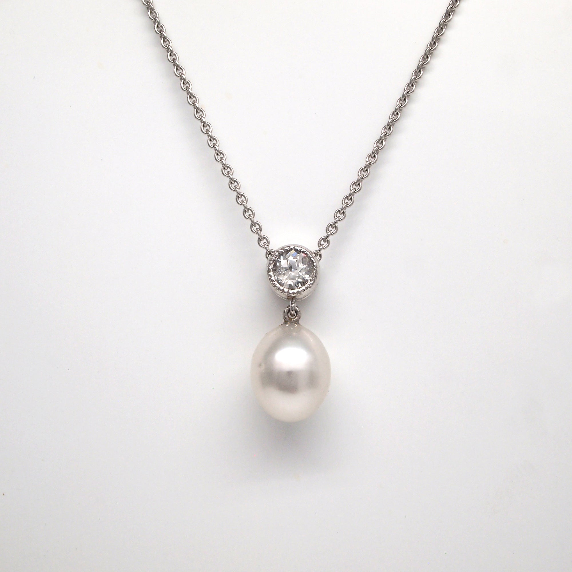 14K White Gold White Sapphire And Pearl Necklace