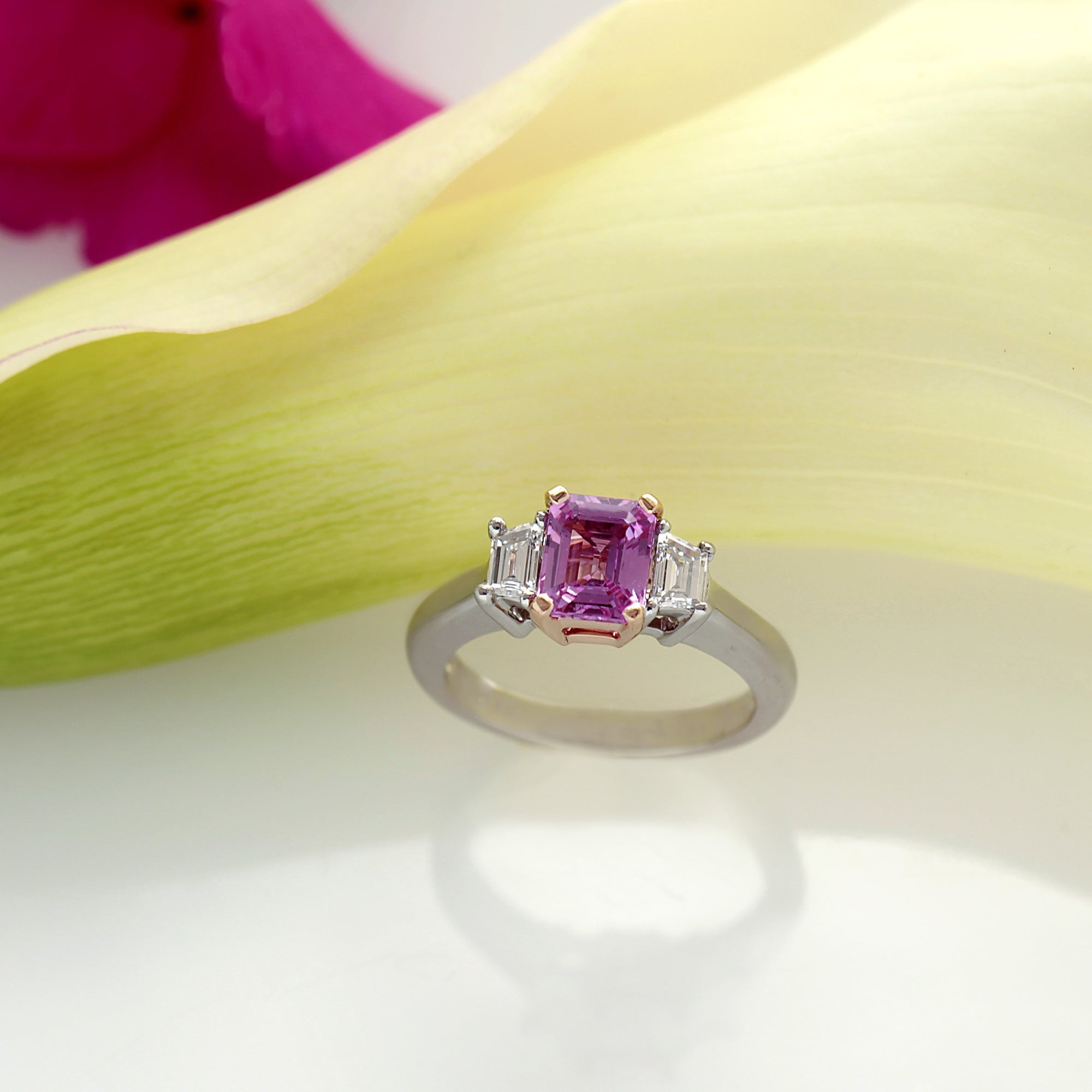 14K White And Rose Gold Pink Sapphire And Diamond Engagement Ring