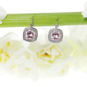 18K white gold drop earrings with 2 cushion-cut pink sapphires and round diamonds