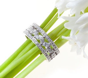 Platinum diamond eternity wedding or anniversary band with marquee and round brilliant diamonds